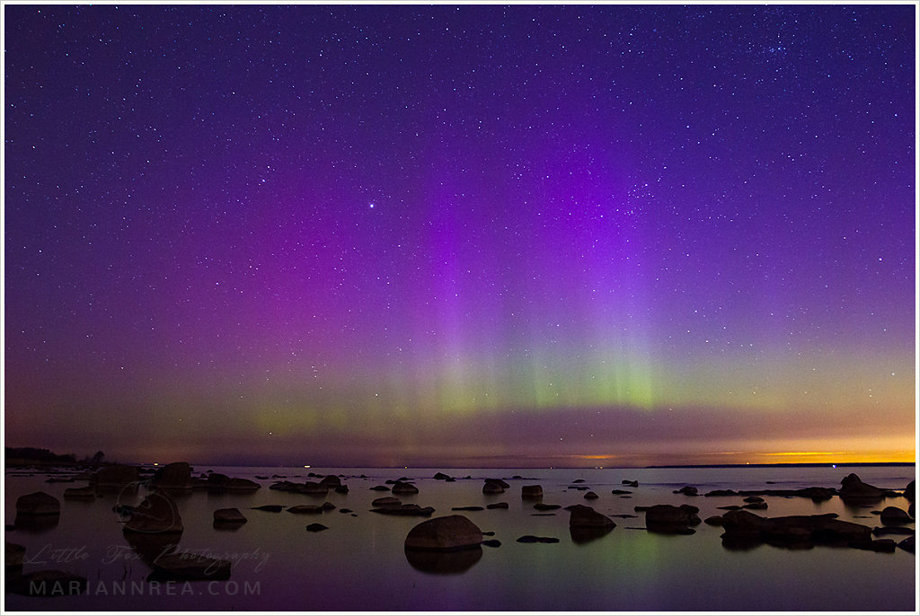 Purple and blue aurora pillars