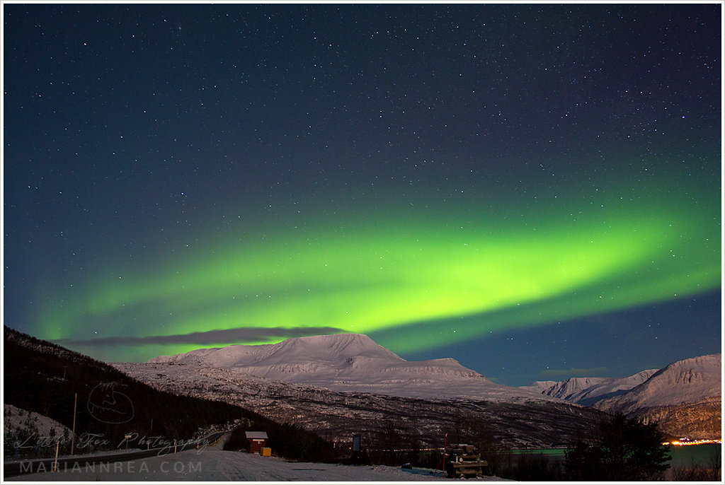 Aurora borealis in Norwegian mountains